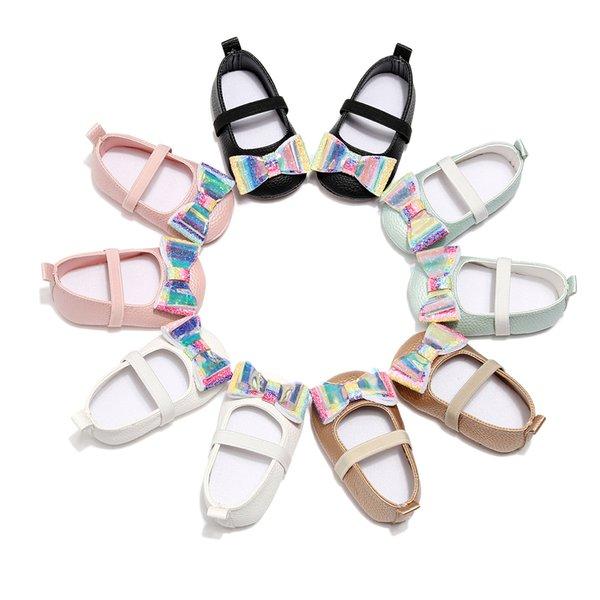 Bebé lindo zapatos de lentejuelas arco zapatos de la moda del niño del niño del Bowknot del laser de los niños primeros caminantes recién nacidos caminantes zapatos TTA1094