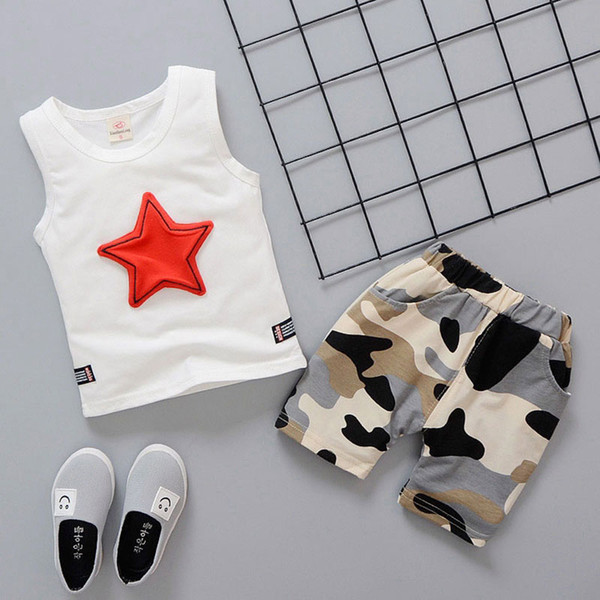 Summer newborn baby boy clothes fashion design camouflage vest sets outfits casual sports suit baby boys Breathable print