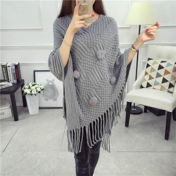 Autumn Plush Ball Tassel Long Knitwear Solid Loose Sweater V-Neck Knit Jumper Poncho Wrap Cloak Cape Pullover Warm Batwing Coat