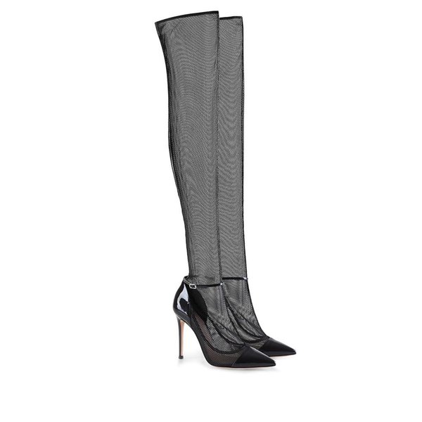 Sexy See-thru Mesh Lace Over the Knee Thigh High Boots Stiletto Pointy Toe Party Shoes Women