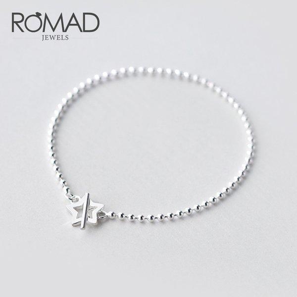 Bracciale ROMAD Real Sterling Silver 925 Bracciale semplice con perline Bracciale a stella per gioielli da donna armbanden per vrouwen R5