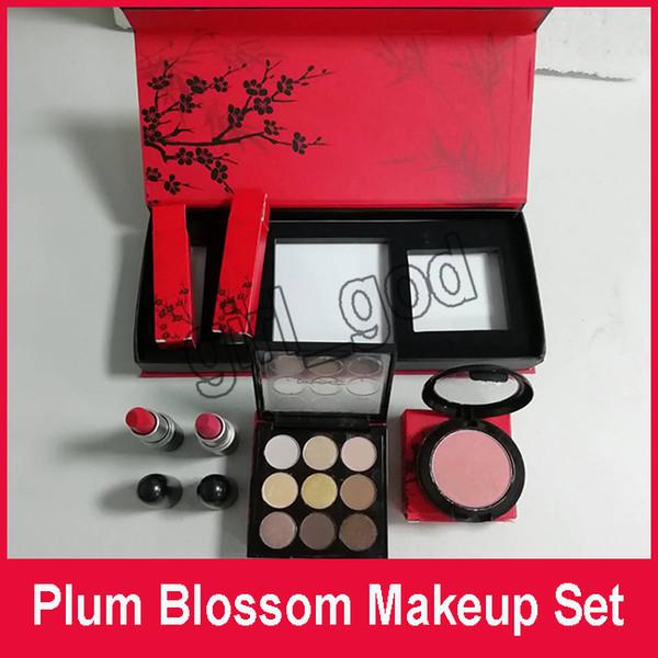 Neue Pflaumenblüten-Make-up-Set 9 Farben Lidschatten-Palette erröten 2pcs matten Lippenstift 4in1 Kosmetikset