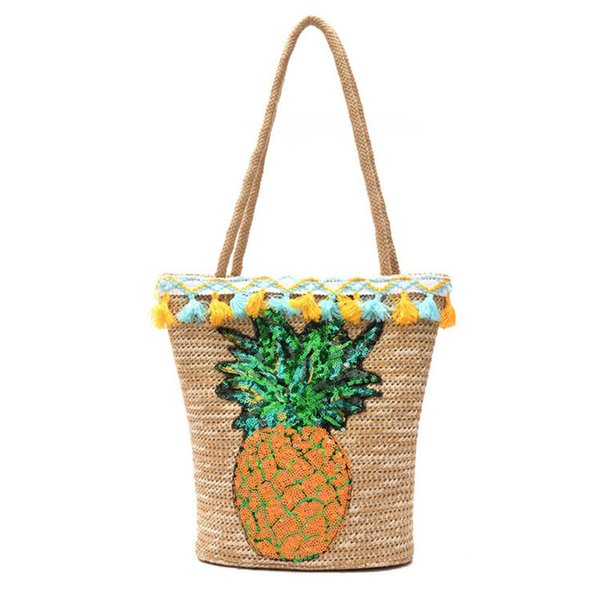 Women Handbags Straw Bags For Lady Knitting Style High Quality Women Composite Bags Pineapple Pattern Large Capacity Tote Bag