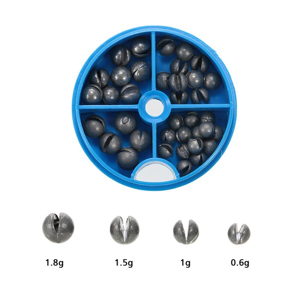 0.6/1/1.5/1.8g removable round lead split ssinker kit set open pure lead weights fishing tackle beans sinker with box thumbnail