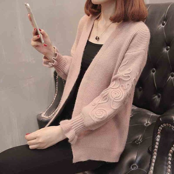 spring Autumn Korean Sweater Women Loose coats Knitted Cardigan Jackets flower Long Sleeve Jumper Female Cardigans Solid sweater