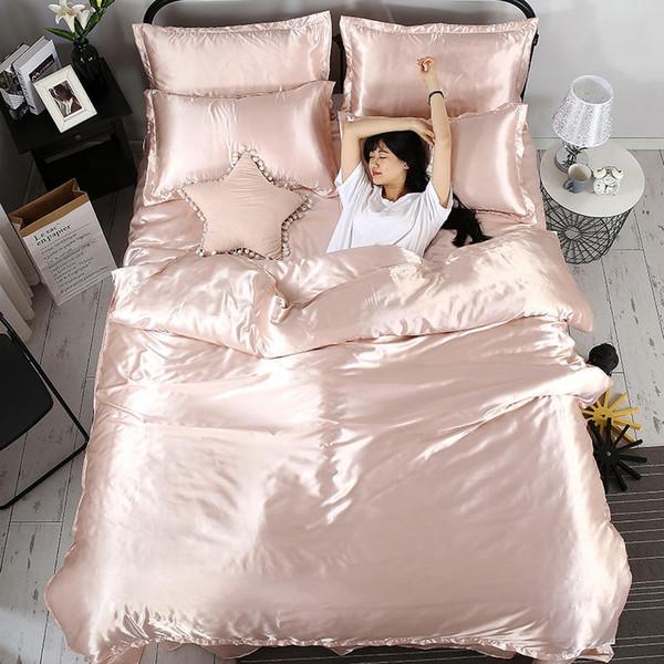 Fashion 100% pure satin silk bedding set, solid color Home Textile King size bed set,bedclothes,duvet cover flat sheet pillowcas