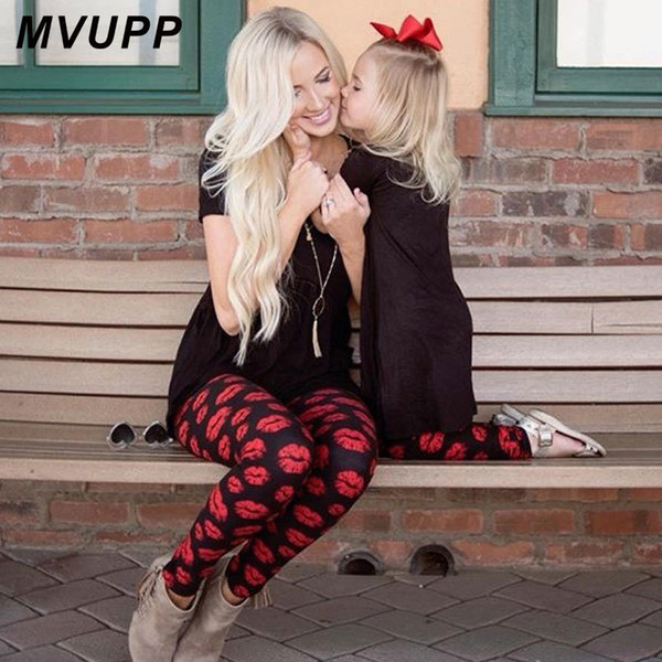 Mum And Daughter Clothes Red Lips Print Fashion Mother Baby Pants Family Matching Outfits Mom Girl Clothing Look Trousers Nmd Y19051103