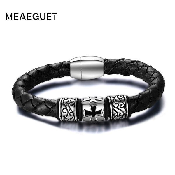 leather bangle Vintage Men's Braided Genuine Leather Bangles Stainless Steel Knights Cross Bracelet cross bracelet