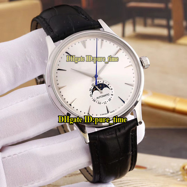 Cheap New Master Ultra Thin 1368420 White Dial Moon Phase Automatic Silver Steel Case Mens Watch Leather Strap Folding Buckle Sport Watches