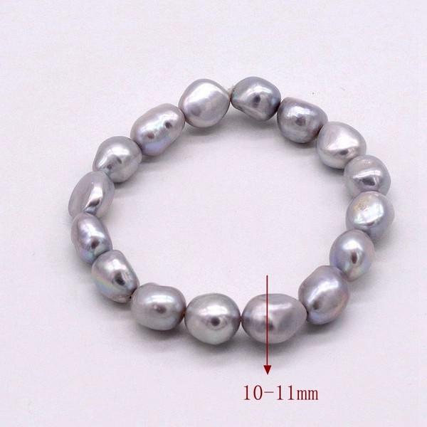 cinza semi barroco gota de lágrima forma irregular naturais pérolas de água doce cultivados (cinza) de cor pulseira de pérolas para as mulheres