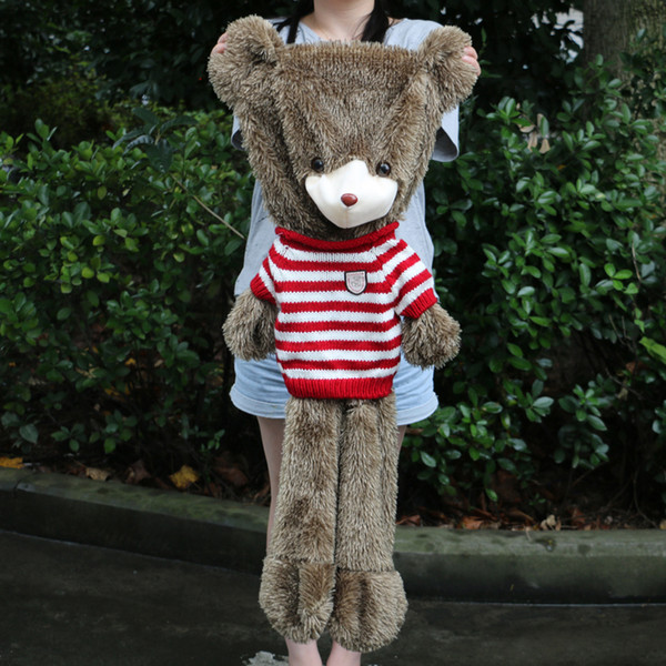 120 cm Dev Kirpi Ayı Cilt Oyuncak Peluş Teddy Bear Bearskin Peluş Kumaş Peluş Oyuncak Kazak Ile Ücretsiz Kargo
