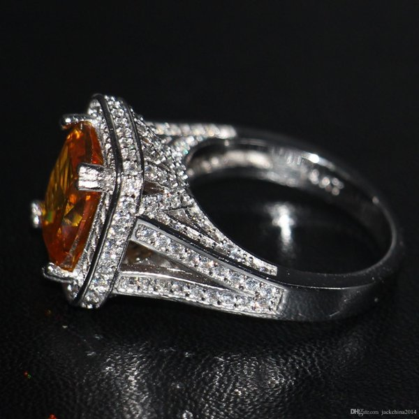 Victoria Wieck Luxury Fashion Jewelry choucong 14KT White Gold Filled Cushion Shape 10CT Yellow Topaz CZ Diamond Women Wedding Band Ring