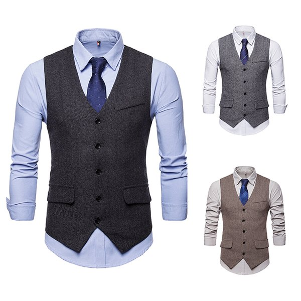 Mens Suit Vest Fashion Wedding Men Slim Fit Vests And Waistcoat Men Dress Suit Vest