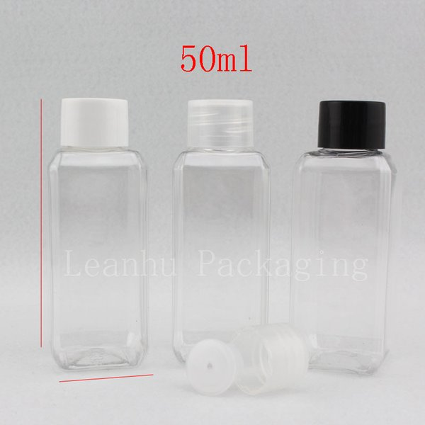 50ml X 50 empty square transparent plastic bottles packaging with screw cap ,1.7oz PET makeup bottle for cosmetics