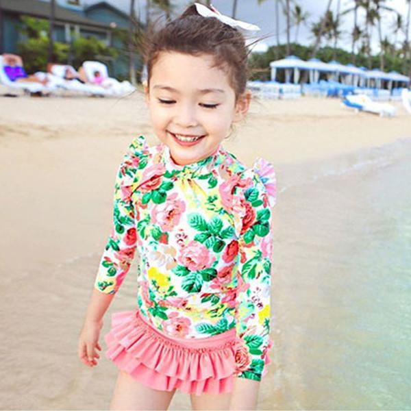 3-15 ans filles maillot de bain enfants Imprimer maillot de bain Summer Beach maillot de bain enfants manches longues enfants fille maillot de bain 353