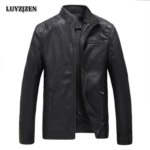 Autumn Winter Motorcycling Pu Leather Jackets Faux Leather Jacket Mens Black Clothing Fashion Elastic Motorcycle Outerwear 304 T2190606