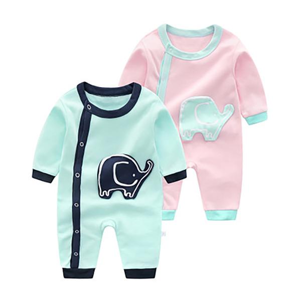 Весна-осень Новорожденный Ползунки Животных Pattern Tiny Хлопок Детская Одежда Малышей Комбинезон для Мальчиков Девочек 3-12 Месяцев Оптовая Бесплатная Доставка