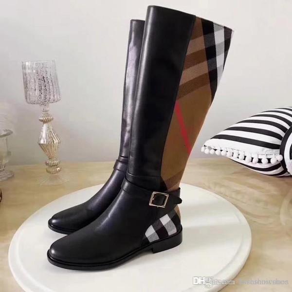 Мода Роскошные женщины Boots 2020 классические женские Сапоги зимние Классический Plaid армии bootss для женщин высокие сапоги