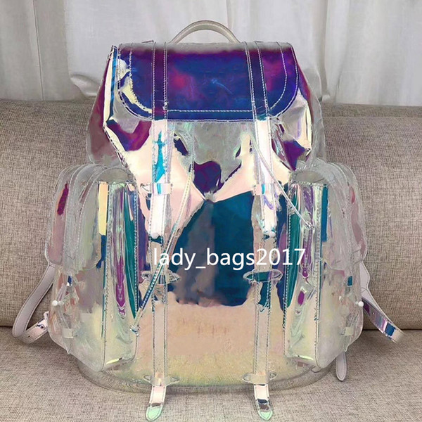 top popular Dazzle Men Laser Flash PVC Designer Backpack Transparent Duffle Bag Brilliant Colour Backpacks Luggage Travel Bag Crossbody Shoulder Handbag 2019