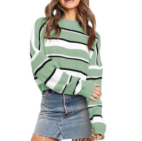 2019 Mujeres invierno largo Crew manga del cuello del suéter de punto suéter de color de la vendimia empalme señoras del otoño del suéter del puente del suéter del Knit