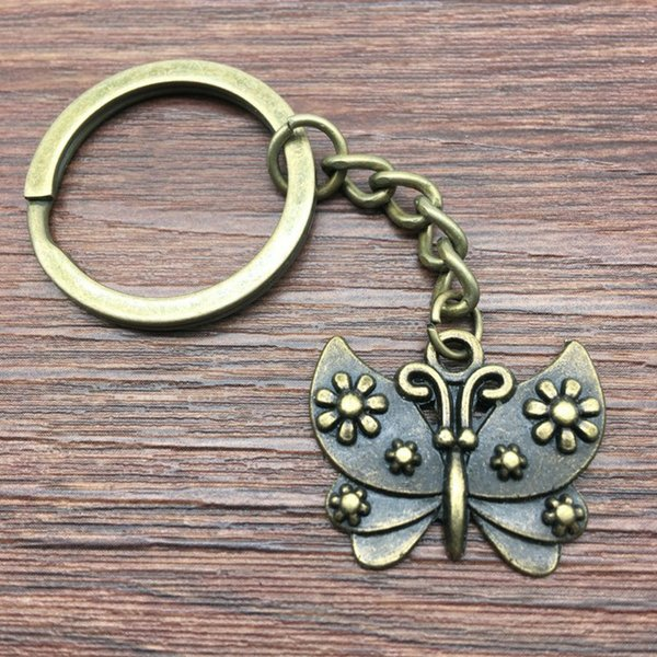 Keyring Butterfly Keychain 26x21mm Antique Bronze New Fashion Handmade Metal KeyChain Souvenir Gifts For Women