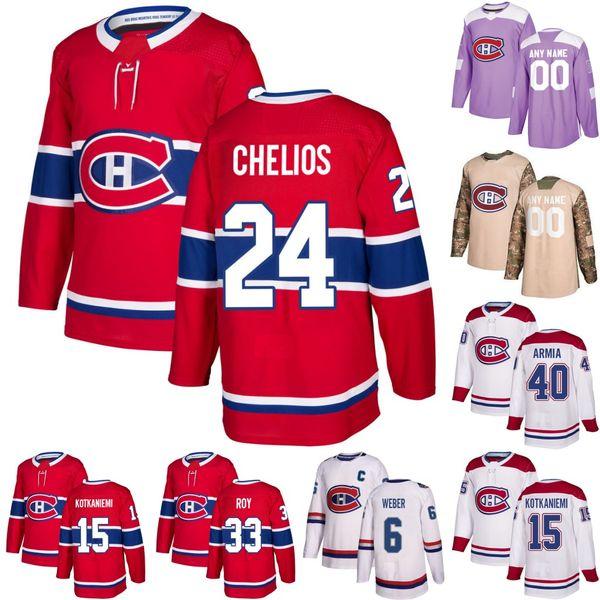 Montreal Canadiens 24 Chris Chelios Guy Lafleur Patrick Roy Joel Armia Max Domi Shea Weber Jesperi Kotkaniemi Drouin Tomas Tatar Jersey
