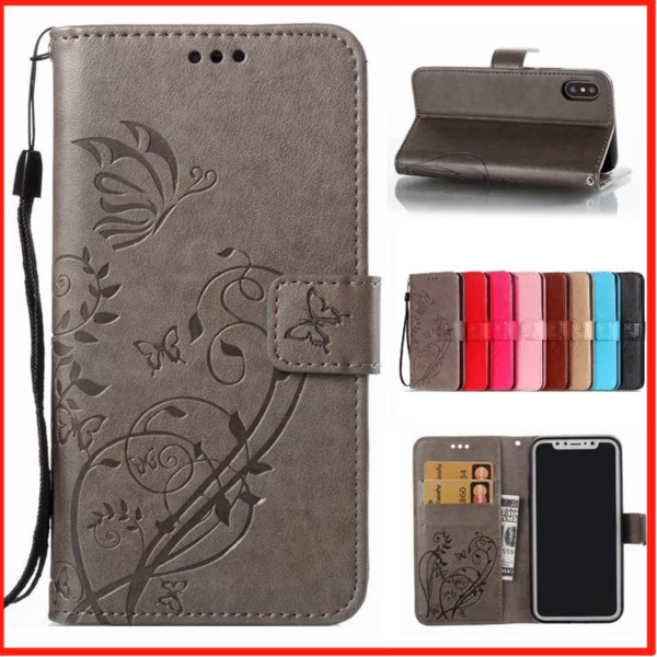 Butterfly Embossed Magnetic Flip Wallet Card Slot Holder Shockproof PU Leather Stand Phone Case Cover For Apple iPhone 5 6/6S 7 8 Plus X XS