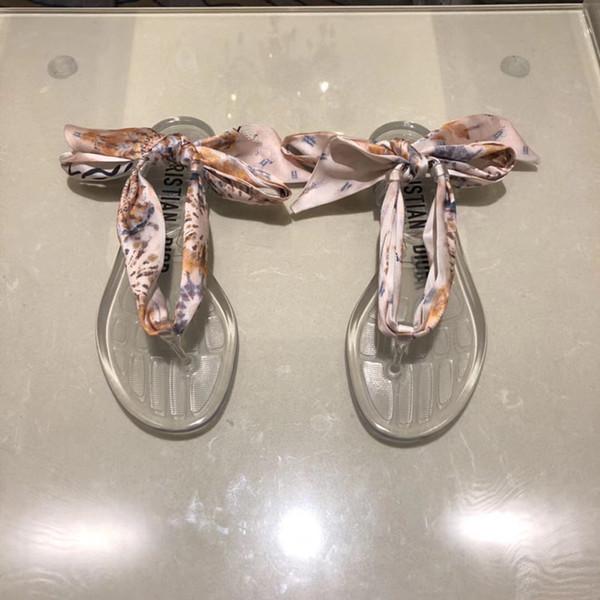 Brand women's new silk scarves sandals designer shoes luxury slides summer fashion wide flat bottom sandals thick bottom sandals ming