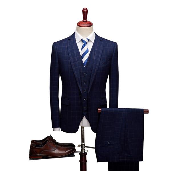 High-end men's formal plaid suits slim elegant mens wedding groom dress suit size S M L XL 2XL 3XL men suit jacket with vest and pants