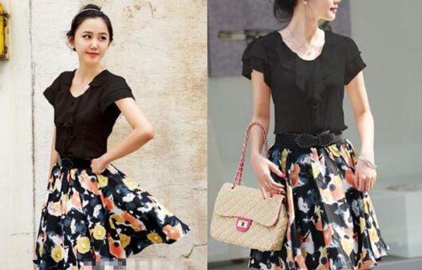 2019 новый летний большой размер женщин сплошной цвет с короткими рукавами рубашки шифона рубашка профессиональное платье 004