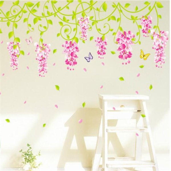 New Wisteria Sinensie Sweet Purple Flower Vine Wall Sticker Home Decor Bedroom TV Sofa Plant Wall Decal DIY PVC Art Mural Poster