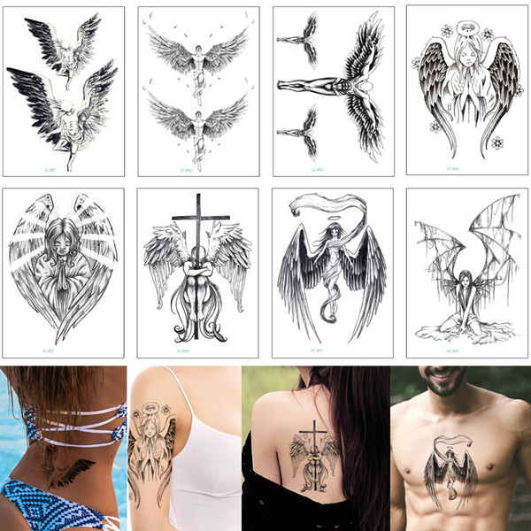 Black Sketch Wing Tattoo Sexy Angel Cross Deathwing Fake Temporary Body Art Transfer Tattoo Sticker for Cool Woman Man Fashion 2019 New Gift