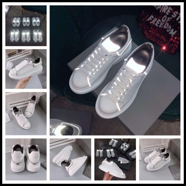 2019 de lujo de los hombres de los zapatos ocasionales de las mujeres 3M reflectantes zapatillas de deporte de diseño de cuero negro blanco moda mujeres planas zapatos deportivos entrenadores