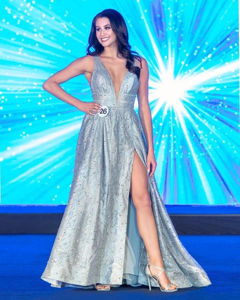 2019 Incredibili paillettes argento perline pageant abiti sexy immergenti scollo a V Side Split abiti da sera una linea in raso lungo abito da ballo