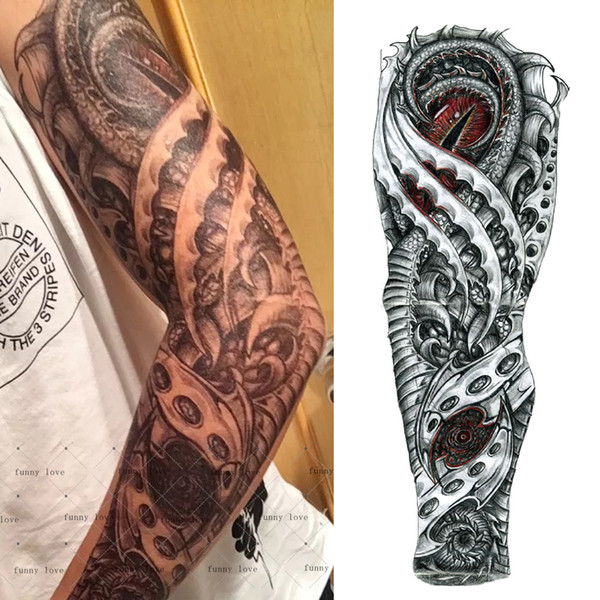 Full Arm Temporary Tattoo Waterproof Cool Grey Black Dragon Mechanical Fake Tattoos 3d Large Size 4817cm Big Tatto For Men 2018 Temporary Tattoo