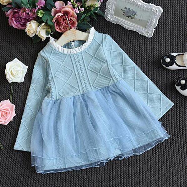 Bebek Kız Elbise Örme Sonbahar Kız Tutu Elbise Casual Uzun Kollu 2 Renkler Kız Çocuklar Için Örgü Çocuklar Elbiseler Elbise