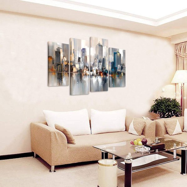 4 Piece Abstract Canvas Painting New York Colorful City Landscape Picture Printed on Canvas Giclee Artwork Unframed Wall Art for Home Decor