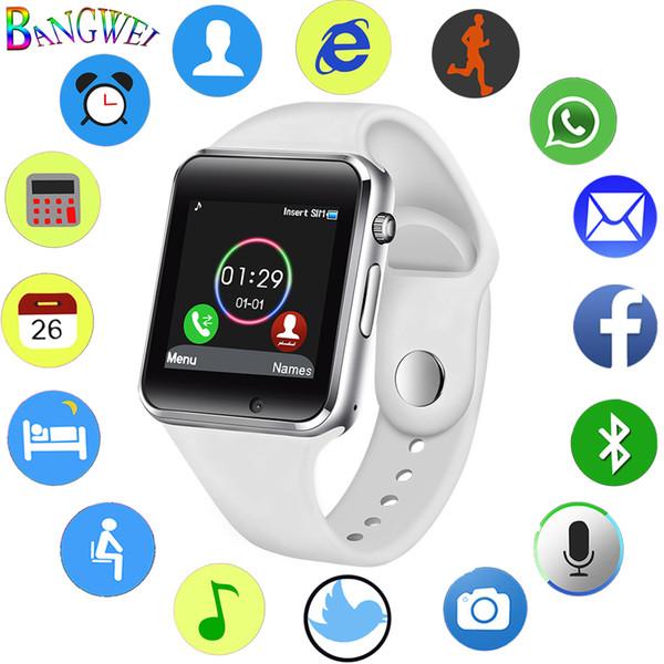 Bangwei 2018 New Women Men Smart Watch Sim Tf Smart Phone Call Music Player Led Sport Smart Watch Sleep Monitor For Android+box Y19052001
