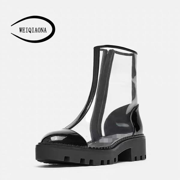 WEIQIAONA 2019 New Big Size 34-42 Women Shoes Zipper Round Toe Short Boots Low Heels Ladies Shoes Dress Stars Model