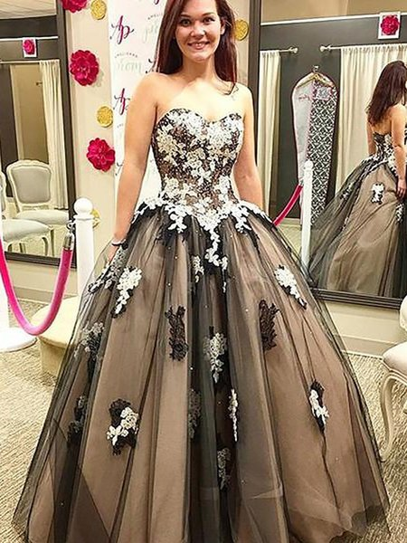 Free Shipping Sweetheart Black Tulle Ball Gown Evening Dresses Floor Length Tulle Sequined Appliques Sweet 16 Girls Prom Gowns Lace UP