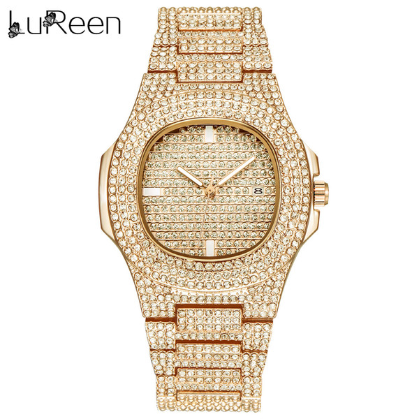 Lureen Hip Hop Iced Out Gold Color Watch Quartz  Full Diamond Round Watches Mens Stainless Steel Wristwatch Gift