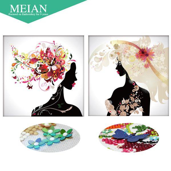 Meian 3D DIY Diamond Diamond, pintura diamante 5D, mosaico de diamantes, mujer, costura, manualidades, Navidad, decoración