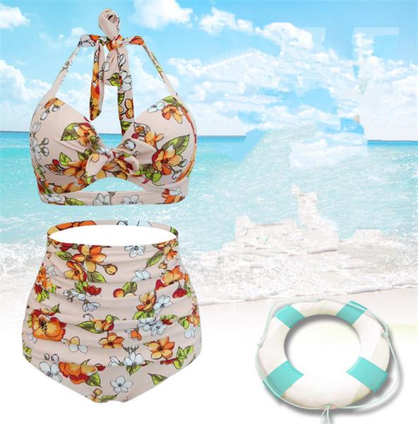 Floral 2 Pcs Mulheres Verão Designer Bikinis Sexy Moda Backless Maiô Plus Size Feminino Casual Vestuário