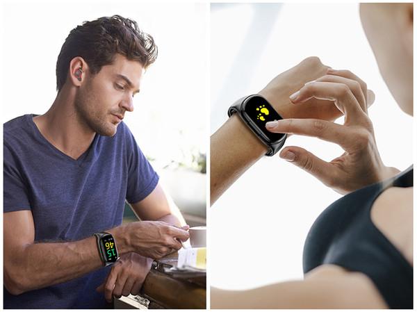 2 en 1 M1 TWS Smart Binaural Bluetooth 5.0 Auriculares Pulsera de fitness Pulsera inteligente Auricular Reloj deportivo de frecuencia cardíaca con paquete al por menor