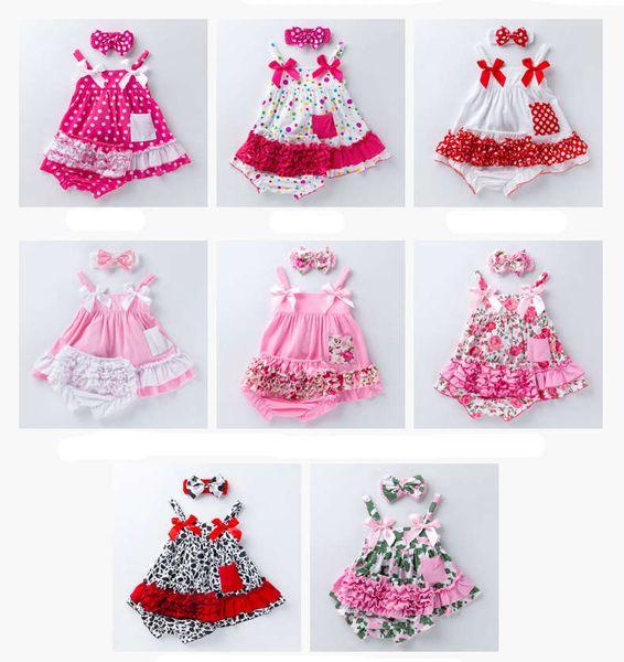 INS bebekler çiçek Chevron giyim seti Kamuflaj Leopar yürüyor bebek vintage kıyafetler askı üstleri + tutu şort + kafa 3 adet suit