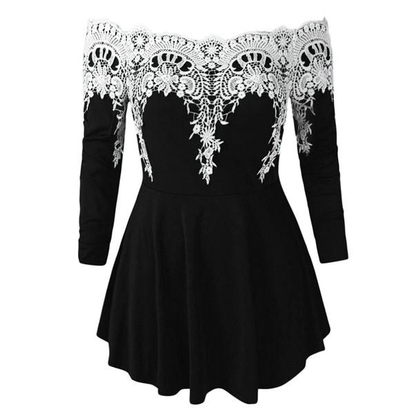 2019 vestidos verano Mujer Casual Encaje Más Tamaño Frío Hombro Moda Apliques Camiseta Tops soft print Adelgaza vintage shein