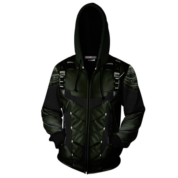 New Movie Green Arrow 3D Printed Hoodies Zipper Casual Cosplay Halloween Animation Role Playing Costume