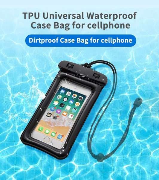 TPU Universal Waterproof case For iPhone XS XR XS MAX 8 7 6 Dirtproof Case Bag For Cellphone up to 6.5 inch