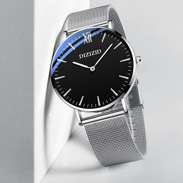 Ultrathin Yuvarlak Dial Paslanmaz Çelik Kayış Mens Watch Kuvars Saatler Tasarımcı Erkek Reloj Hombre için Saatler