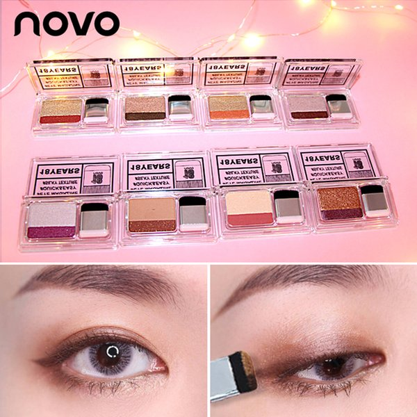 EB001 NOVO 2019 neue faule Lidschatten-Kosmetik Matte Shimmer Double Color Lidschatten-Stempel nackte Palette mit Pinsel Nude Make-up-Set